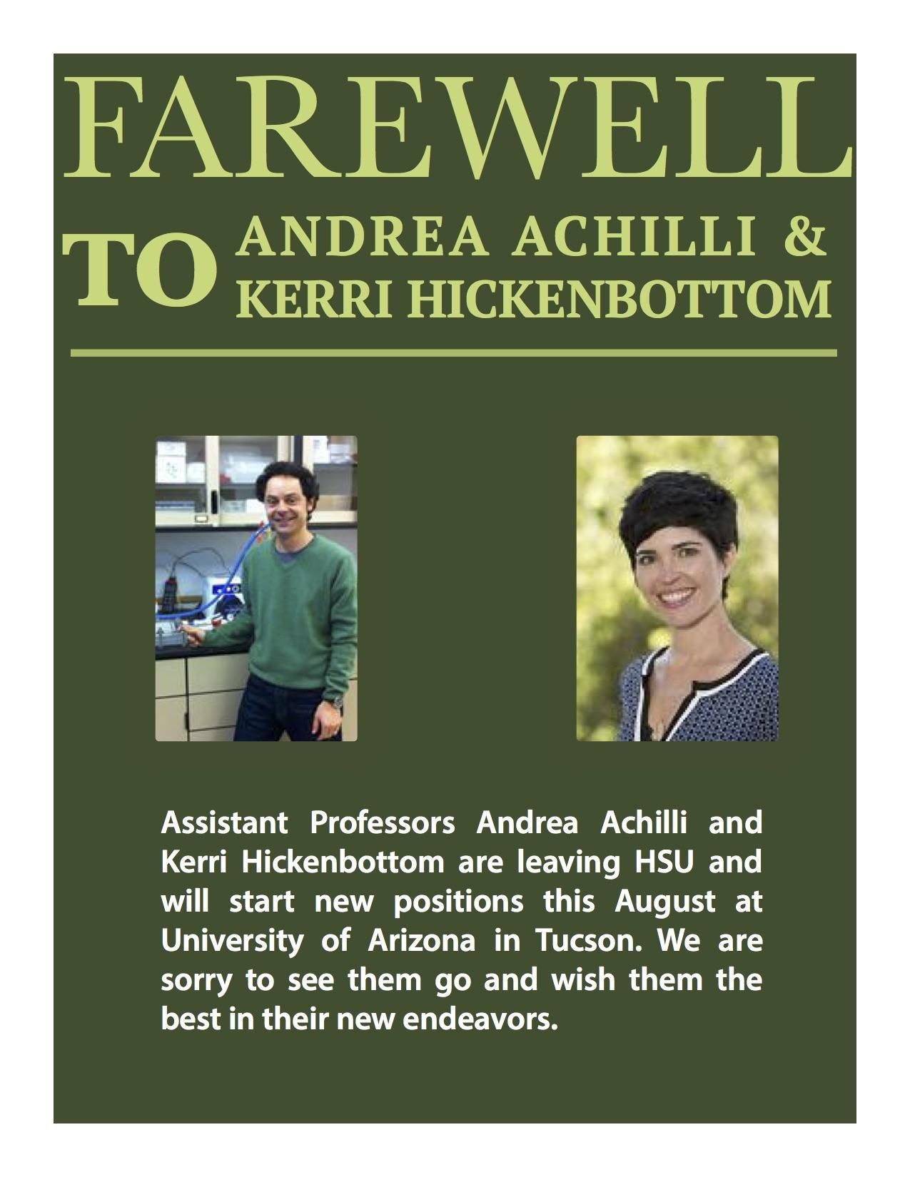 Andrea Achilli and Kerri Hickenbottom leave HSU for University of Arizona