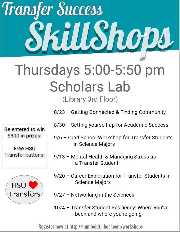Transfer Student Skillshop poster