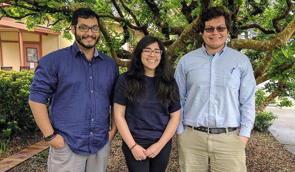 Environmental Resources Engineering students Yaad Rana, Marcela Jimenez, and Joshua Martinez